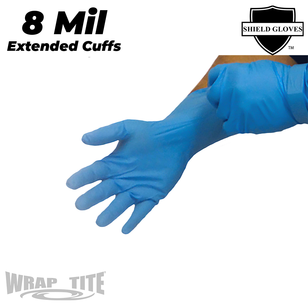 8 Mil Blue Nitrile Gloves - Extended Cuff